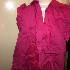 Zara Sleeveless Pink Button Up